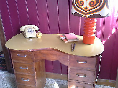 FUNKY RETRO DESK table drawer mustard 60's 70's vintage groovy curved top