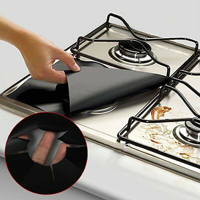 10 x Reusable Gas Stove Top Burner Protector Liner Pad Cover Kitchen Clean Tool