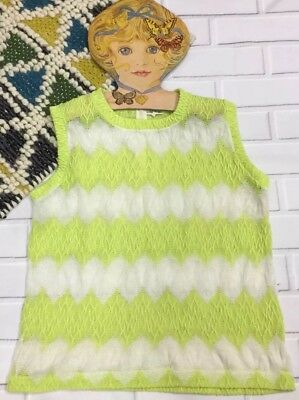 Vintage Blouse Lace Sheer Atomic 60s Crop Top Lime Green Small