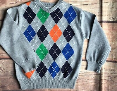Boys Sweater Size 4 4T Argyle Boy's Pullover Gray TCP V-neck blue green