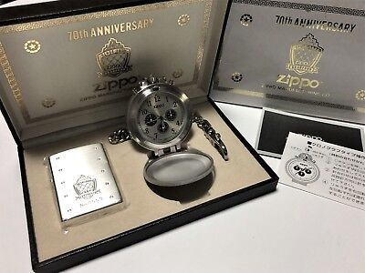 Rare! ZIPPO 70th Anniversary Limited Edition Lighter & Chain Pocket Watch Set
