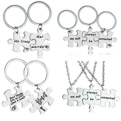 Puzzle Pieces Stainless Steel Pendant  & Chain Necklace Jewelry Gift Friendship