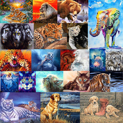 Paint By Numbers Oil Painting Kit Home Wall Decor Lion Tiger Wolf Animal Kid DIY