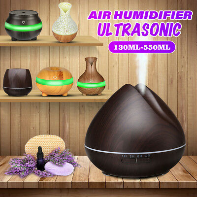 LED Ultrasonic Aroma Humidifier Essential Oil Diffuser Aromatherapy 130-550ML