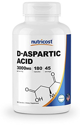 Nutricost D-Aspartic Acid Capsules (180 Capsules) (3000mg Serving) 1 Bottle New
