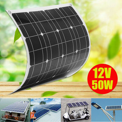 50W 12V Flexible Solar Panel Battery Charger + 1.5m Cable For Home RV Boat new