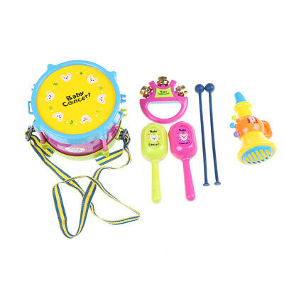 1Set Musical Instrument Rattles Shake Bell Ring Kids Learning Beat Drum Toy STDE
