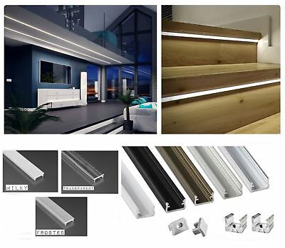Aluminium Profile Straight 5 colours 1M for LED Light Strip with Cover + Caps