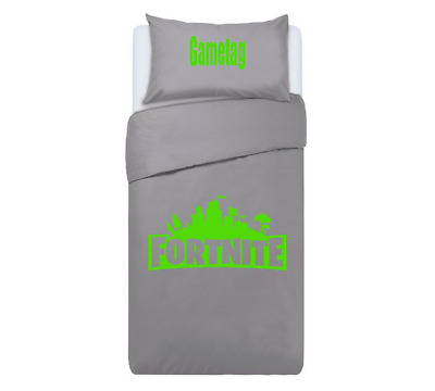 FORTNITE Personalised DUVET COVER BEDDING SET ** GREEN & GREY ** PS4 / XBOX ONE