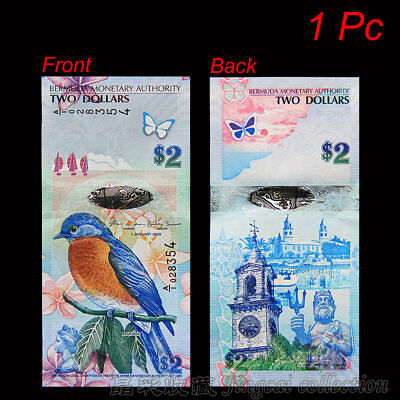 1 pc Bermuda 2 Dollar 2009. P-57b. Banknote Paper Money Blue Bird Hybrid UNC