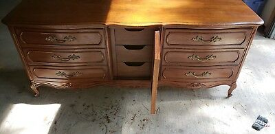 French Triple Dresser by Thomasville Furniture with linen press Vintage