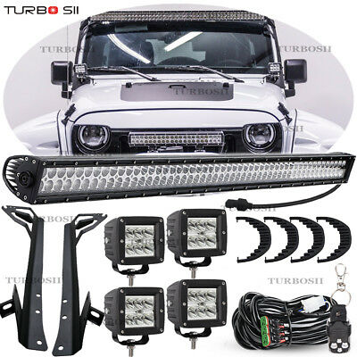 "52"" 700W +4x 3"" 18w LED Light Bar w/Bracket 07-17 Jeep JK Wrangler Unlimited JKU"
