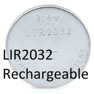 Pile bouton LIR2032 Li-ion lithium rechargeable  3,6V battery Accus 40mAh
