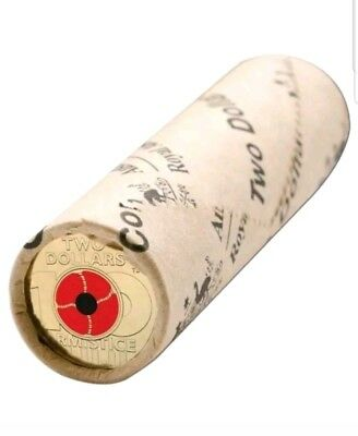 Remembrance Day 2018 - Centenary Red Poppy $2 Dollar Coin Roll UNC Australia