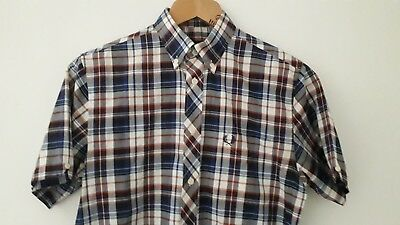 """Fred Perry Tartan Style Check Short Sleeve Shirt SMALL 38"""" * Indie MOD"""