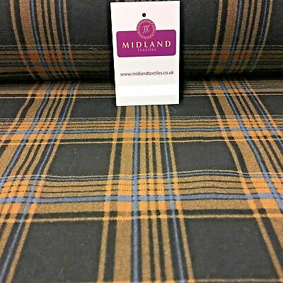 "Black & Cinnamon Tartan Check Print Cotton Wynciette Brushed Fabric 58"" M1019-1"