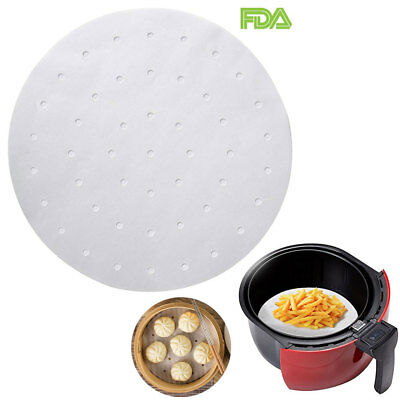 Air Fryer Liner Steamer Perforated Bamboo Parchment Paper 9 Inch Cooking Mat 100