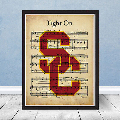 University of Southern California USC Trojans Fight On Song Music Logo Gift Art