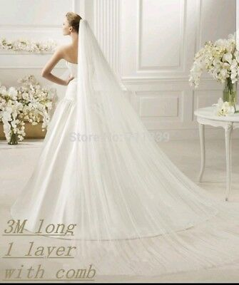 1 Tier Soft White Ivory Cathedral Length 3M Bridal Wedding Veil Cut/Plain Edge