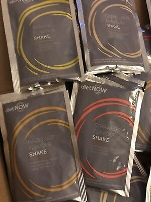 DIET NOW 8 X Protein Shakes Banana Strawberry Chocolate Vanilla Meal Replacement