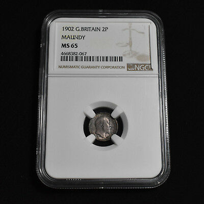 1902 Great Britain, Edward Vii Maundy Two Pence, Gem Uncirculated, Ngc Ms65