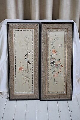 Two Antique Chinese Silk Embroidery Panels
