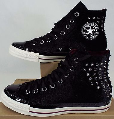 New Womens CONVERSE 9 CT Hi Black Velvet Spikes Shoes  100 141621C Mens 7 70098ad27