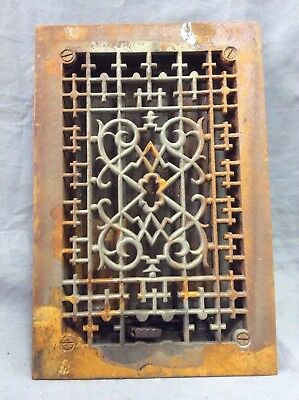 Antique Cast Iron Decorative Heat Grate Floor Register 8X12 Vintage Old 9-19D