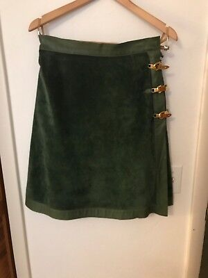 5be2255b6 GUCCI-- VINTAGE 1970's -- GREEN SUEDE AND LEATHER WRAP SKIRT-- sz