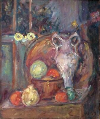 ZVI SHOR (1898-1979) , Oil on Canvas , Still Life With Fruits, Vase,  Signed