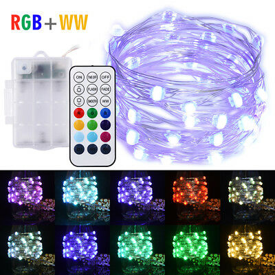 RGB+WW Led Fairy Guirlandes 5M 50LEDs Battery Operated Remote Control Copper B7