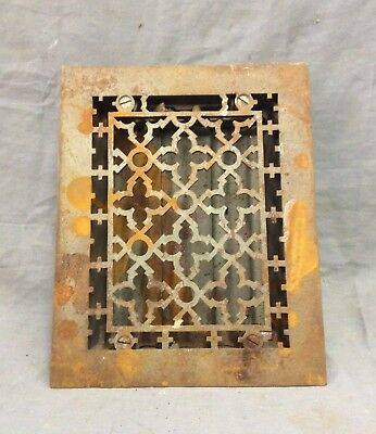 Antique Cast Iron Gothic Heat Grate Floor Register 8X10 Vintage Old 10-19D