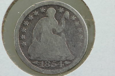 1854 Seated Liberty Half Dime Scrubbed Reverse