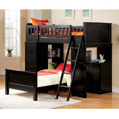 Willoughby Youth Kids Black Wood Twin Loft Bed Storage Workstation Cabinet