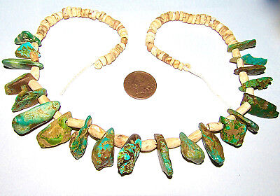 Ancient Sw Native American Pump-Drilled Turquoise Nugget & Bone Bead Necklace