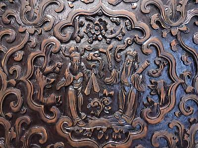 Antique Chinese Carved  Wood Panel For Wall Deco 19c  (ff101))