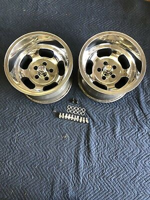 Vintage Pair 15X10 Polished  Us Indy Style Mags  5 On 4 1/2 Ford Mopar Dodge