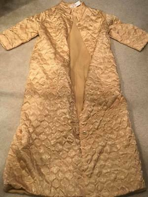 Vtg 60's Penny's Gaymode Yellow Gold Quilted Long Satin Robe
