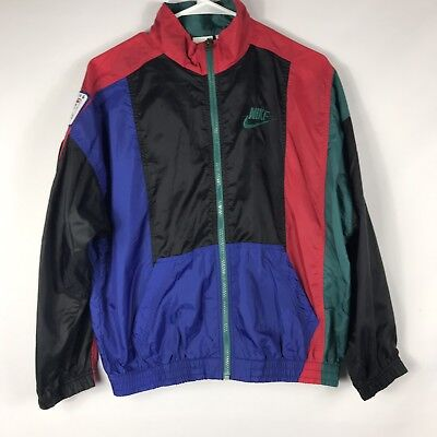 Vintage Nike 90's Windbreaker Jacket Color Block Youth Lg 14-16 Soccer Patches