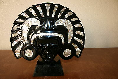 Large Aztec / Mayan Obsidian & Shell Mask  COLLECTOR QUALITY Almost 6 Pounds
