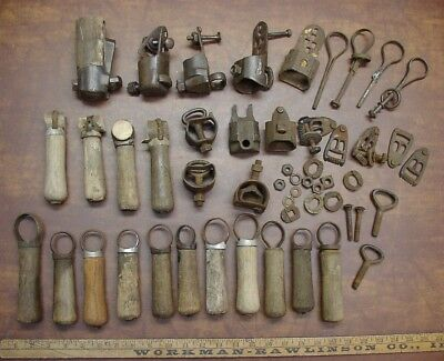 Huge 36 Piece Lot Of Antique Scythe,Snath Parts & Pieces,Nibs,Blade Brackets,Etc