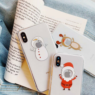 Silicone Christmas Snowman Phone Case Cover For iPhone X XS Max XR 8 7 6s Plus