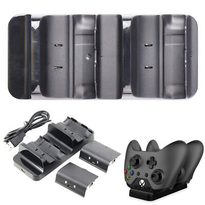 Dual Controller Charger Charging Dock Station Rechargeable Battery For XBOX ONE
