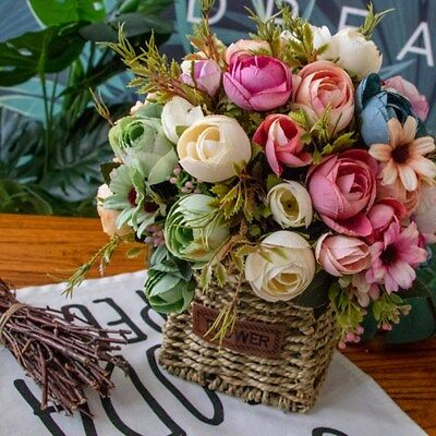 Artificial Silk Rose Flowers Bouquet Fake Leaves Wedding Peony Home Decoration