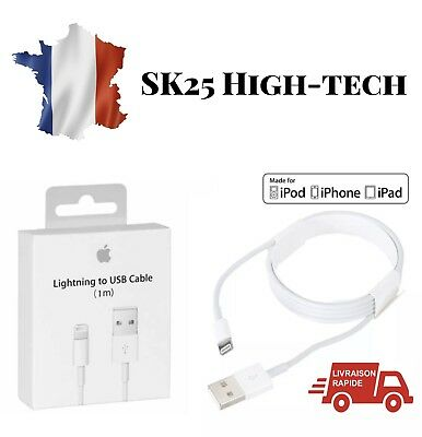 Cable 100% Original pour Apple Iphone 5 6 7 8 X Ipad Chargeur Lightning Usb