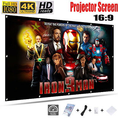 """120"""" Extra Large Film HD Projector Projection Screen 16:9 Home Cinema Theater UK"""