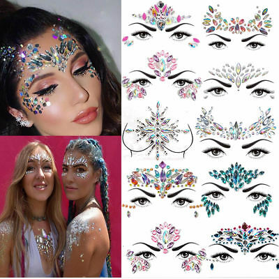 Adhesive Face Gems Rhinestone Jewels Festival Party Body Glitter Face Tattoo