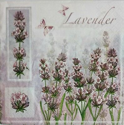 4 paper napkins, use for decoupage Lavender.Servilletas decoupage,lavanda