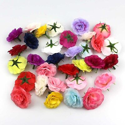 100x Artificial Silk Rose Flowers Heads Buds Petals Bouquets Craft Wedding Decor