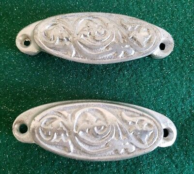 Pair Of Vintage Old Cast Iron Bin Pulls Drawer Pulls Painted